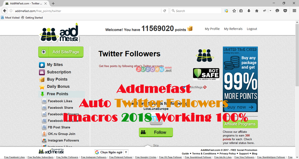 Addmefast Auto Twitter Followers Imacros 2018 Working 100%