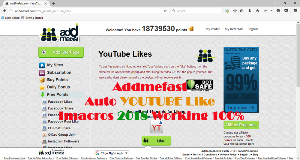 Addmefast Auto Likes YouTube Imacros 2018 Working 100%