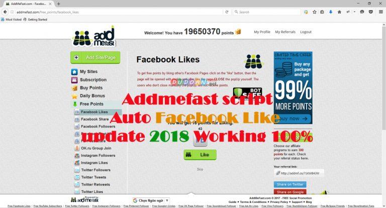 Addmefast Script Auto Likes Facebook updated 2018 Working