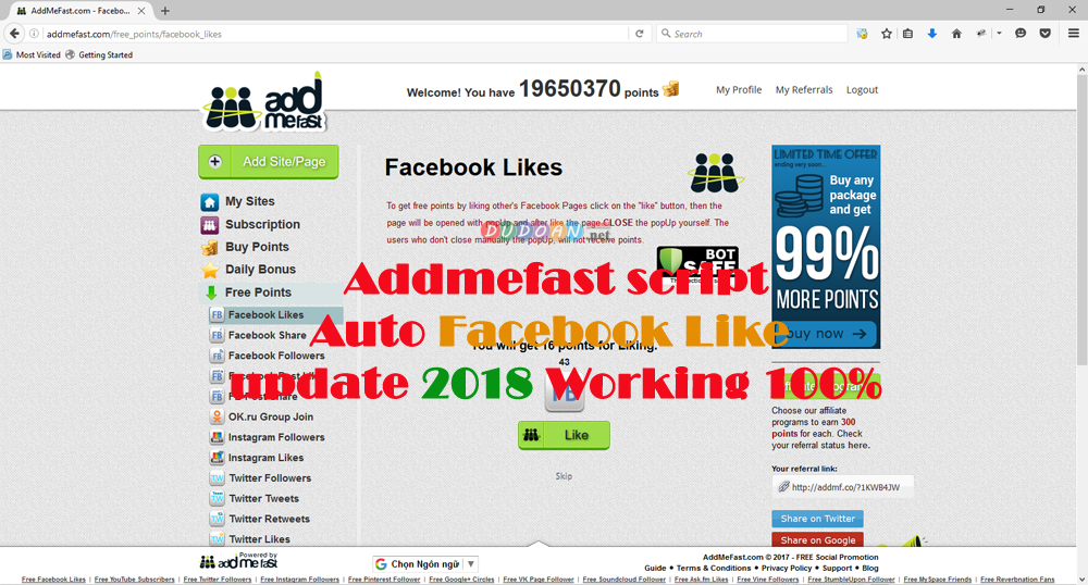 Addmefast Script Auto Likes Facebook updated 2018 Working 100