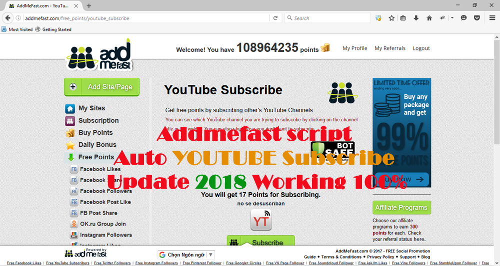 Addmefast Script Auto Subscribe YouTube Update 2018 Working 100